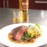 Collops of beef with Grant's Whisky and mushroom cream