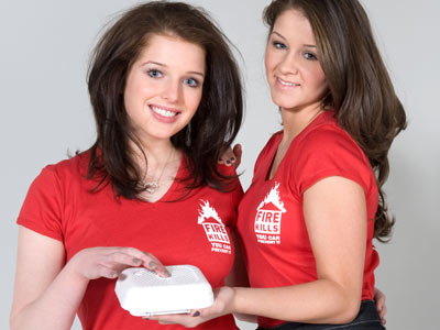 Celebs pledge to push the button - fire kills - helen flanagan and brooke vincent (aka rosie and sophie webster)