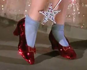 Dorothy of Wizard of Oz' original ruby slippers on display at Victoria and Albert museum