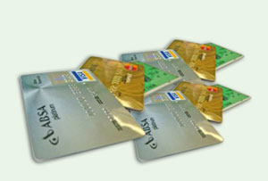 Plastic cards of a different colour and flavour