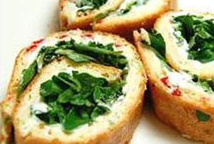Three-Cheese, Pepper & Watercress Roulade Recipe